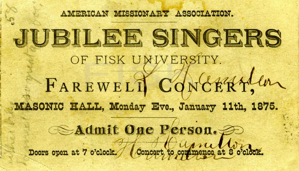 Historic parchment advertising Jubilee Singers